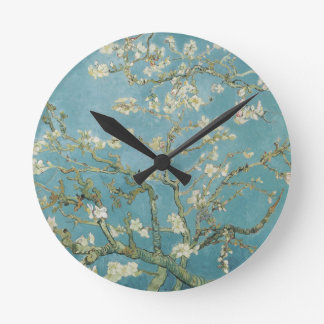 Almond tree in blossom by Vincent Van Gogh Round Clocks