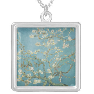Almond tree in blossom by Vincent Van Gogh Silver Plated Necklace