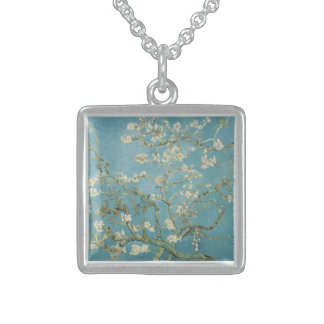 Almond tree in blossom by Vincent Van Gogh Sterling Silver Necklace