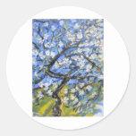 Almond trees round sticker