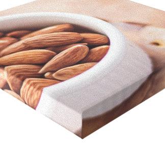 Almonds in White Dish Canvas Print