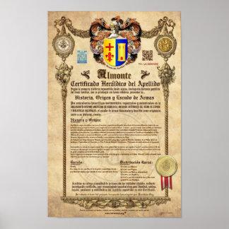 """""""ALMONTE"""" Certificado Heráldico del Apellido Póster"""