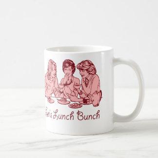 Almorcemos gráfico retro de los años 50 del manojo taza de café