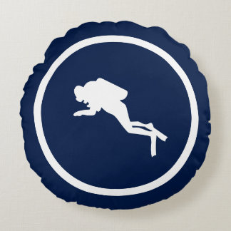 Almost Navy blue DOLPHIN AND SCUBA DIVER nautical Round Pillow