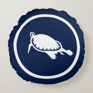 Almost Navy blue swimming turtle nautical Round Pillow