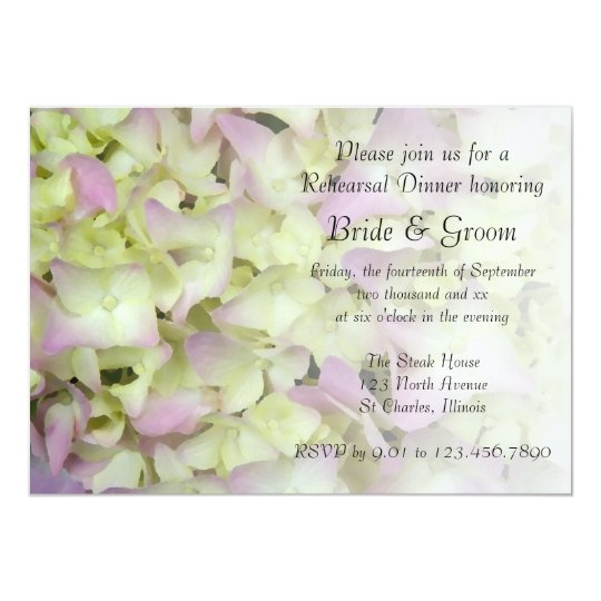 Almost Pink Hydrangea Floral Rehearsal Dinner Card