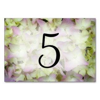 Almost Pink Hydrangea Table Numbers Card