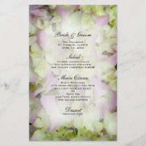 Almost Pink Hydrangea Wedding Menu