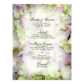 Almost Pink Hydrangea Wedding Menu Custom Flyer