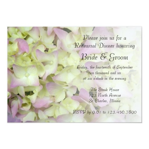 Almost Pink Hydrangea Wedding Rehearsal Dinner 5x7 Paper Invitation Card
