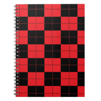Almost Plaid Red and Black Checkered Notebook