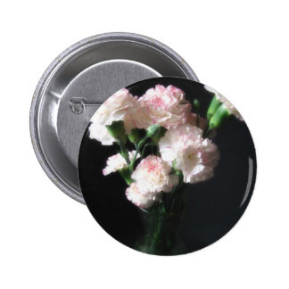 Almost White Carnations 2 2 Inch Round Button