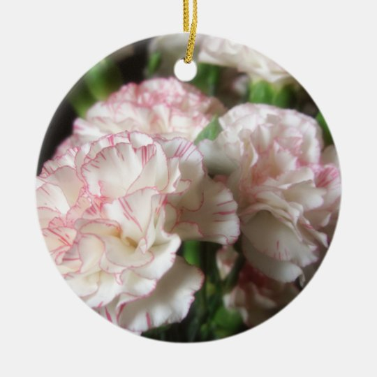 Almost White Carnations 5 Ceramic Ornament
