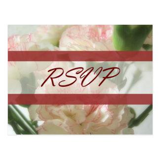 Almost White Carnations 6 RSVP Wedding Postcard