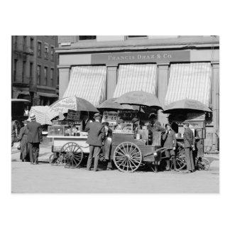 Almuerzo Carts 1906 de New York City Tarjeta Postal