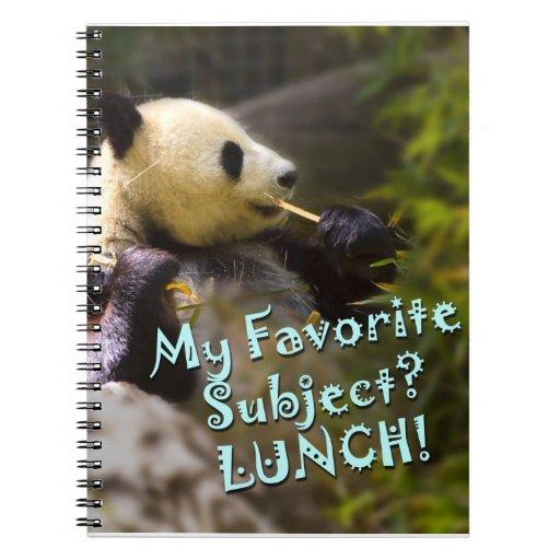 Almuerzo de la panda libreta espiral