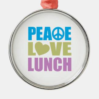 Almuerzo del amor de la paz adorno navideño redondo de metal