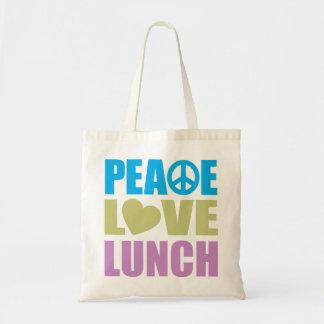 Almuerzo del amor de la paz bolsa tela barata