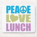 Almuerzo del amor de la paz tapetes de ratones