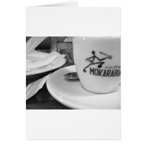 almuerzo del caffe tarjeta de felicitación