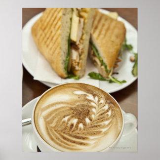 Almuerzo del Cappuccino y del panini Póster