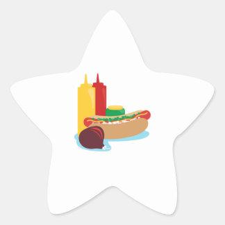 Almuerzo del perrito caliente pegatina en forma de estrella