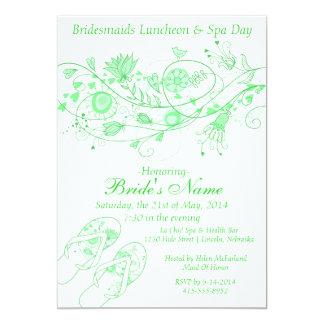 Almuerzo y balneario verdes de menta caprichosos 1 invitación 12,7 x 17,8 cm
