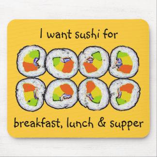 Almuerzo y cena Mousepad del desayuno del sushi de