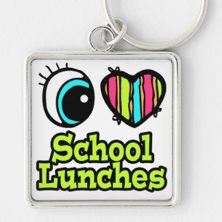 Almuerzos escolares brillantes del amor del corazó llavero cuadrado plateado