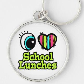 Almuerzos escolares brillantes del amor del corazó llavero redondo plateado