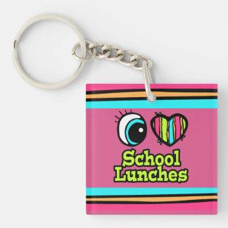 Almuerzos escolares brillantes del amor del llavero cuadrado acrílico a doble cara