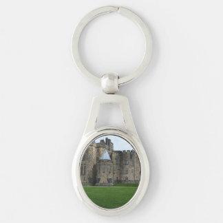 Alnwick Castle UK Silver-Colored Oval Metal Keychain