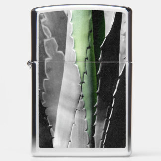 Aloe - Macro Art Photograph in Black and White Zippo Lighter