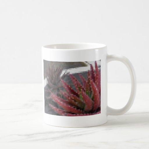 Áloe Rojo-Verde 3 del mosaico Tazas De Café