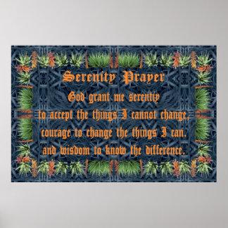 Aloe Vera Border &  Flowers with Serenity Prayer Poster