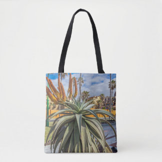 Aloe Vera plant and flower all-over-print tote bag
