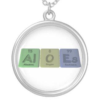Aloes-Al-O-Es-Aluminium-Oxygen-Einsteinium Round Pendant Necklace