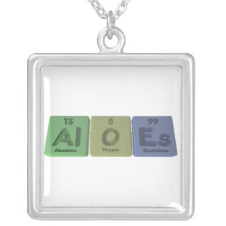 Aloes-Al-O-Es-Aluminium-Oxygen-Einsteinium Square Pendant Necklace