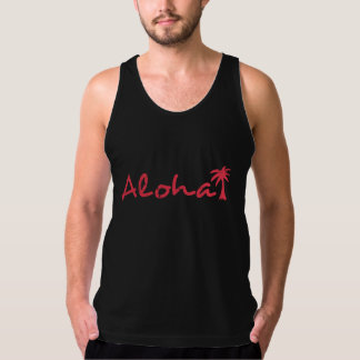 Aloha and palm tree in grunge tank top