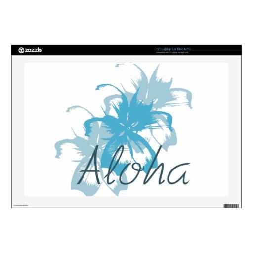 Aloha Aqua Blue Floral Laptop Decals