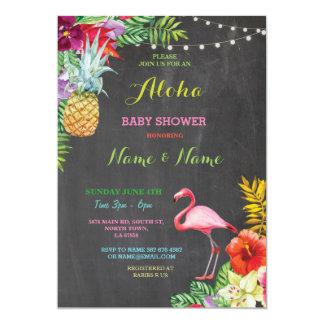 Aloha Baby Shower Flamingo Girl Boy Bright Invite