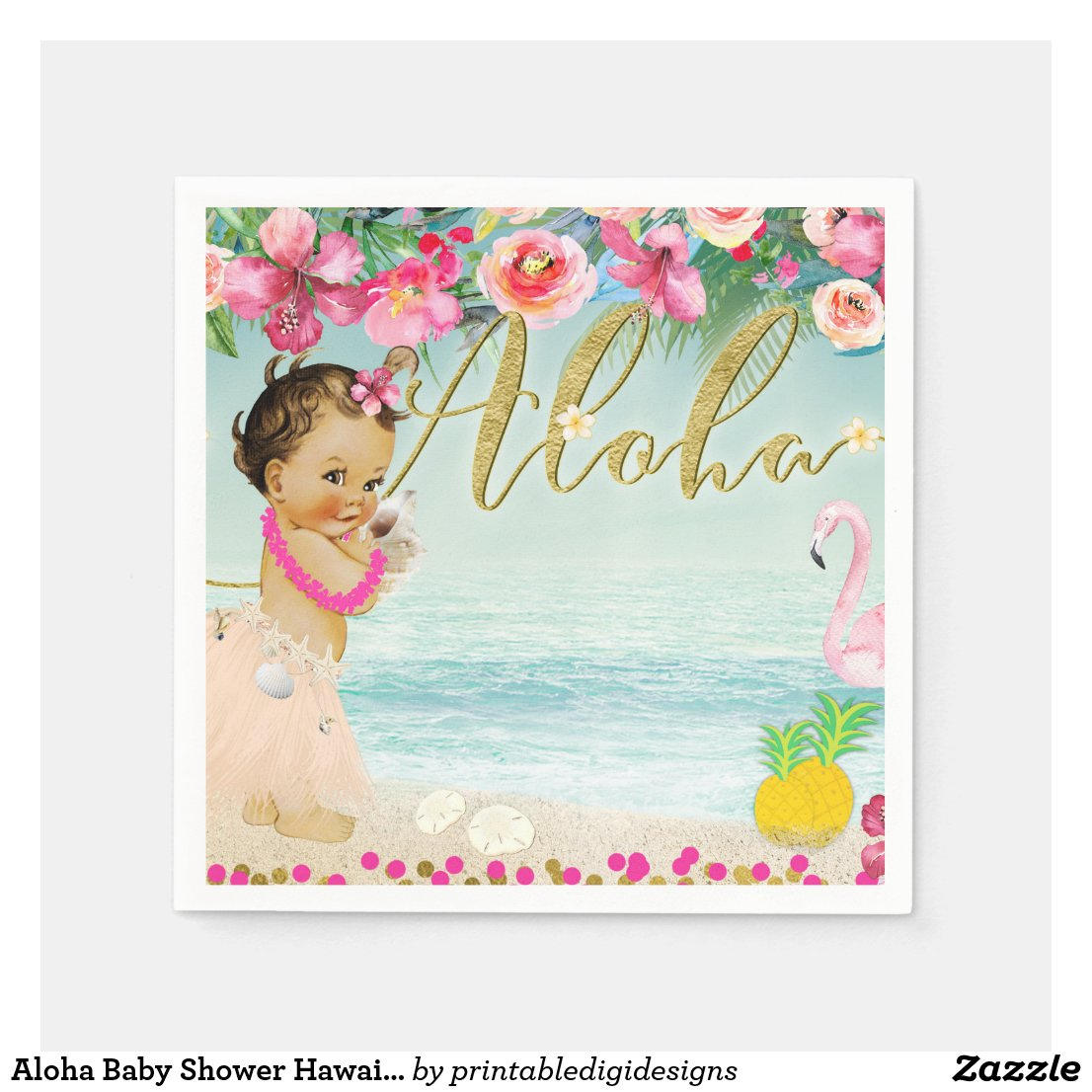 Aloha Baby Shower Hawaiian Beach Retro Party