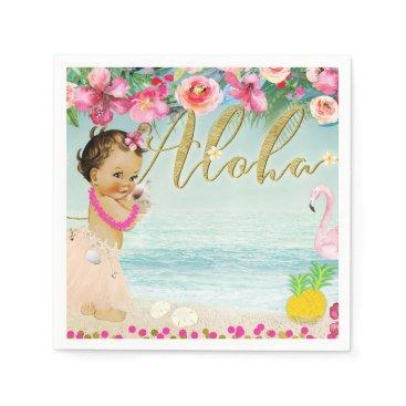 Beach Themed Aloha Baby Shower Hawaiian Beach Retro Party Napkin