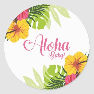 Aloha Baby Shower Luau Stickers