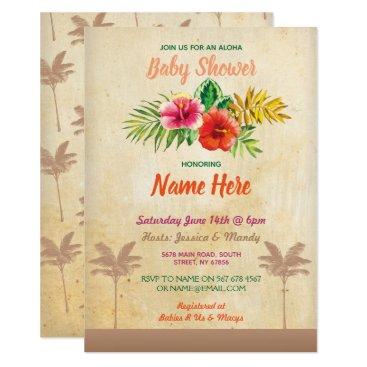 Hawaiian Themed Aloha Baby Shower Luau Tropical Vintage Invite