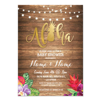Aloha Baby Shower Pineapple Girl Boy Wood Invite
