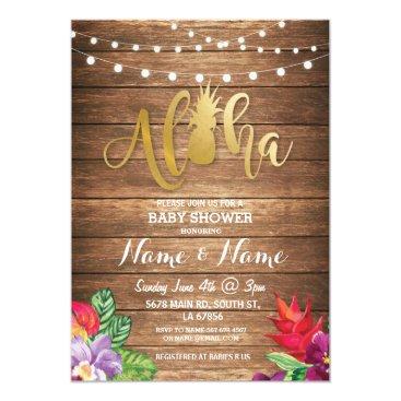 Toddler & Baby themed Aloha Baby Shower Pineapple Girl Boy Wood Invite