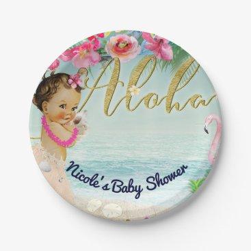 Beach Themed Aloha Baby Shower Retro Hawaiian Beach Party Paper Plate