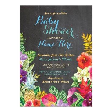 Hawaiian Themed Aloha Baby Shower Tropical Luau Boy Blue Invite