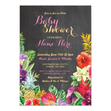 Hawaiian Themed Aloha Baby Shower Tropical Luau Girl Pink Invite